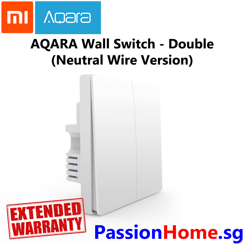 Aqara Wall Switch Double Switch Gang (Neutral Wire Version) - Light Control Passion Home - Xiaomi Mijia New 2