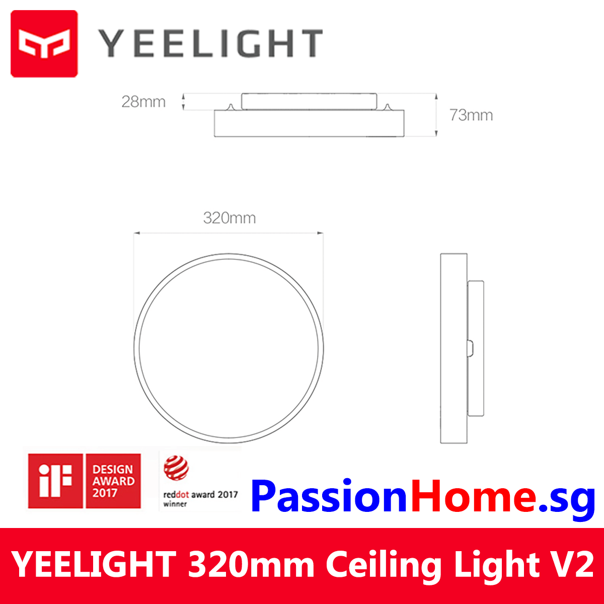 Yeelight LED Ceiling Light - Luna YLXD01YL 320mm PassionHome.sg 4