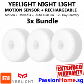3x Bundle Yeelight Rechargeable Motion Sensor Nightlight - Xiaomi Mi PassionHome.sg