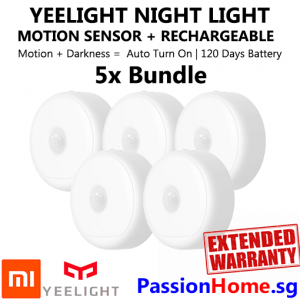 5x Bundle Yeelight Rechargeable Motion Sensor Nightlight - Xiaomi Mi PassionHome.sg