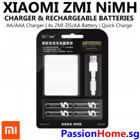 Xiaomi ZMI NiMh Charger and Rechargeable Battery (ZI5 ZI7 AA AAA) 4x ZI5 AA PB401 PassionHome.sg Passion Home Main 1