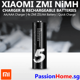 Xiaomi ZMI NiMh Charger and Rechargeable Battery (ZI5 ZI7 AA AAA) 4x ZI5 AA PB401 PassionHome.sg Passion Home Main 4